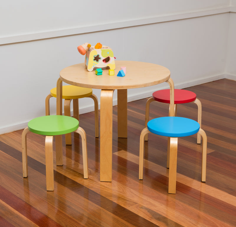 Bunyip Round Table & 4 Coloured Stools from Mille Kids
