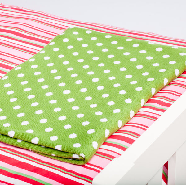 Green Spotted Throw on Apples Quilt Cover 3 - Cool Kids Rooms Bedding