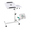 Rotating Mobile Laptop Adjustable Desk Inc USB Cooler White