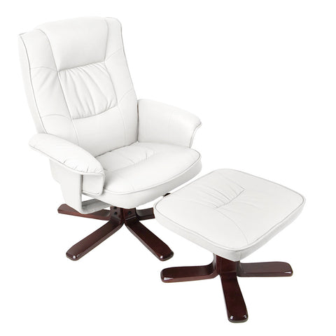 PU Leather Lounge Recliner Chair Ottoman White