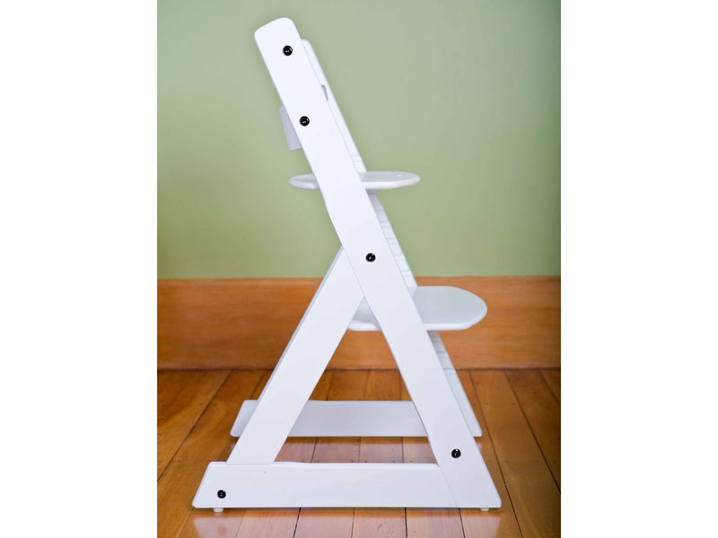 Mocka Soho Wooden High Chair - White + FREE SAFETY HARNESS