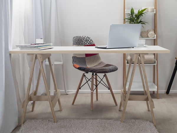 Trestle Office Desk With Patch Chair and Ladder Shelf Combo