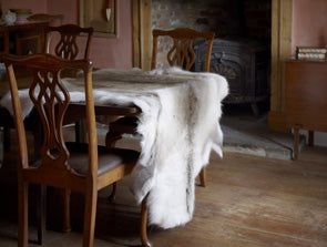 Reindeer hide draped over table