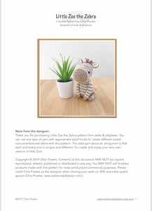 "AMIGURUMI PATTERN/ tutorial (English) Amigurumi Zebra ""Little Zoe the Zebra"" pdf - US terminology"