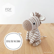 "Load image into Gallery viewer, AMIGURUMI PATTERN/ tutorial (English) Amigurumi Zebra ""Little Zoe the Zebra"" pdf - US terminology"