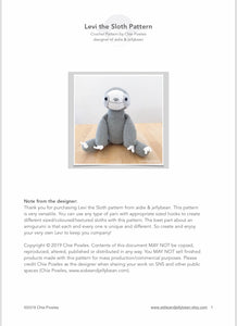 "AMIGURUMI PATTERN/ tutorial (English) Amigurumi Sloth - ""Levi the Sloth Pattern"" pdf - US terminology"