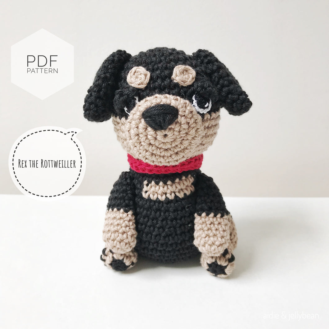AMIGURUMI PATTERN/ tutorial (English) Amigurumi Rottweiler Dog -
