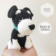 "Load image into Gallery viewer, AMIGURUMI PATTERN/ tutorial (English) Amigurumi Schnauzer - ""Whiskey the Schnauzer Puppy"" pdf - US terminology"