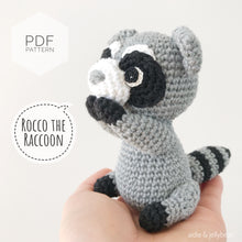 "Load image into Gallery viewer, AMIGURUMI PATTERN/ tutorial (English) Amigurumi Raccoon - ""Rocco the Little Raccoon"" pdf - US terminology"