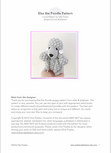"AMIGURUMI PATTERN/ tutorial (English) Amigurumi Poodle Dog - ""Elsa the Poodle Puppy"" pdf - US terminology"