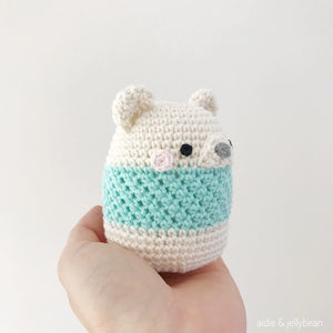 "AMIGURUMI PATTERN/ tutorial (English) Amigurumi Cow ""Egg Shaped Animals - Polar Bear Rattle"" pdf - US terminology"