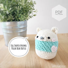 "Load image into Gallery viewer, AMIGURUMI PATTERN/ tutorial (English) Amigurumi Cow ""Egg Shaped Animals - Polar Bear Rattle"" pdf - US terminology"