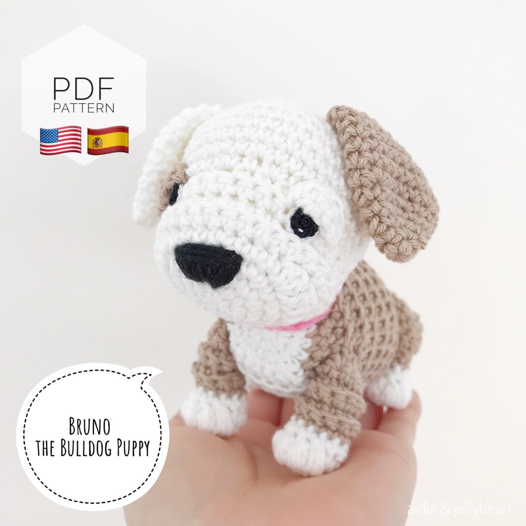 AMIGURUMI PATTERN/ tutorial (English / Español) Amigurumi Bulldog -