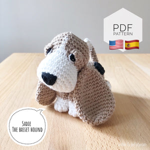"AMIGURUMI PATTERN/ tutorial (English / Español) Amigurumi Basset Hound Dog - ""Sadie the Basset Hound Puppy"""