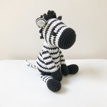 "Load image into Gallery viewer, AMIGURUMI PATTERN/ tutorial (English) Amigurumi Zebra ""Zoe the Stripy Zebra"" pdf - US terminology"