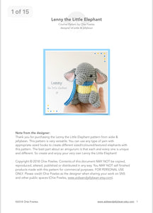 "AMIGURUMI PATTERN/ tutorial (English) Amigurumi Elephant - ""Lenny the Little Elephant"" pdf - US terminology"