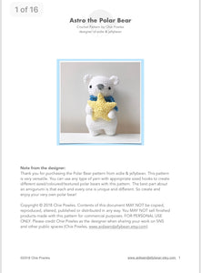 "AMIGURUMI PATTERN/ tutorial (English) Amigurumi Polar Bear - ""Astro the Polar Bear"" pdf - US terminology"