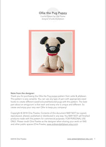 "AMIGURUMI PATTERN/ tutorial (English) Amigurumi Pug Dog - ""Ollie the Pug Puppy"" pdf - US terminology"