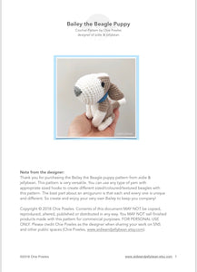 "AMIGURUMI PATTERN/ tutorial (English) Amigurumi Beagle Dog - ""Bailey the Beagle Puppy"" pdf - US terminology"
