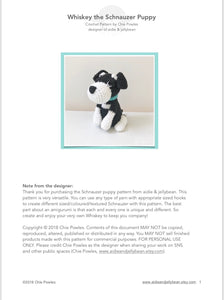 "AMIGURUMI PATTERN/ tutorial (English) Amigurumi Schnauzer - ""Whiskey the Schnauzer Puppy"" pdf - US terminology"