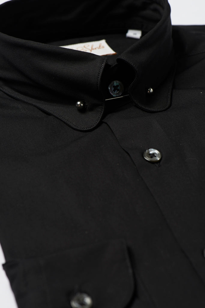 Mens Black Pin Collar Shirt