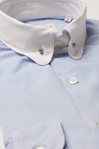 Mens Blue Striped Pin Collar Shirt White Collar