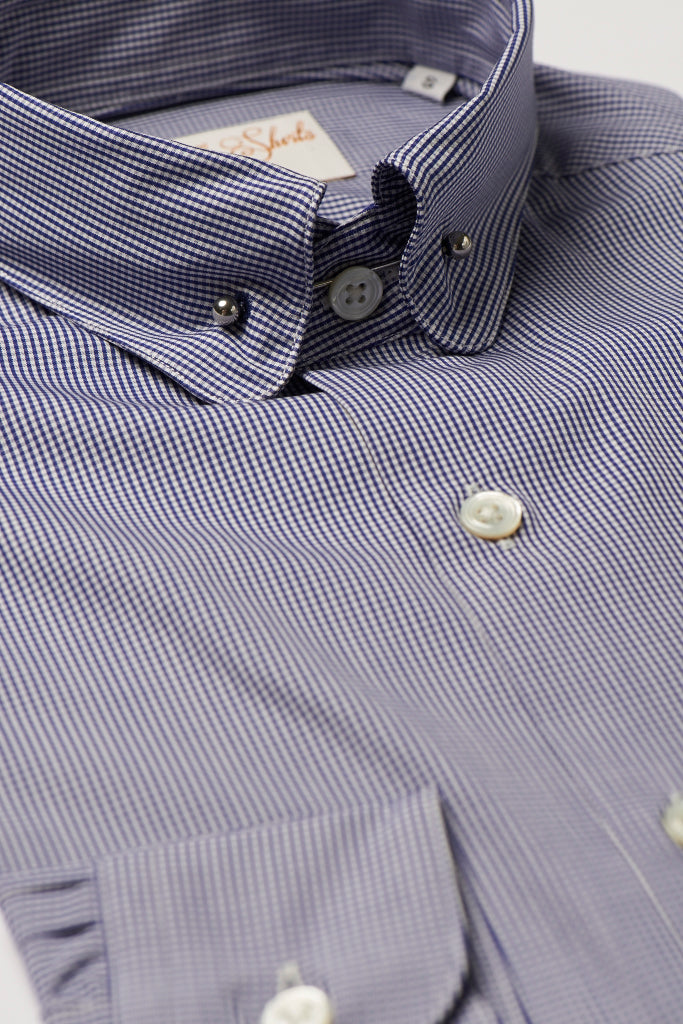 Mens Navy Check Pin Collar Shirt