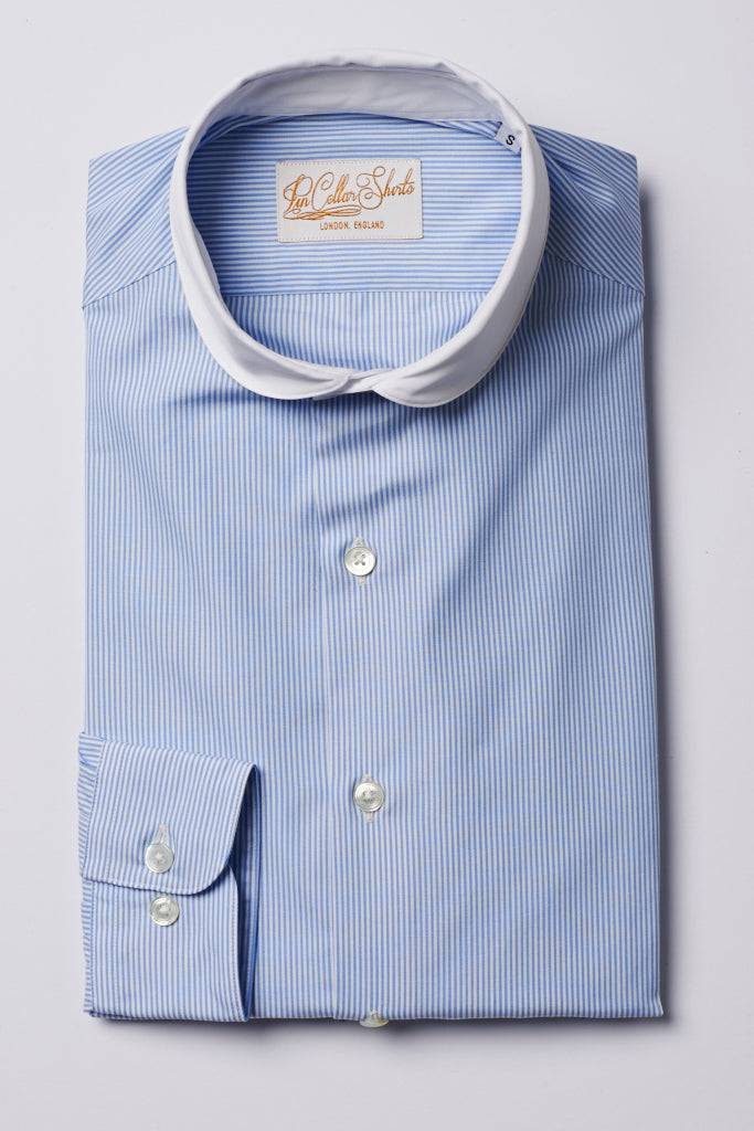 Mens Blue Striped Shirt White Curve Cutaway Collar