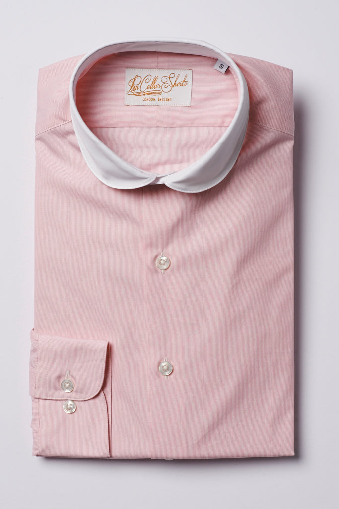 Mens Pink Shirt White Curve Cutaway Collar