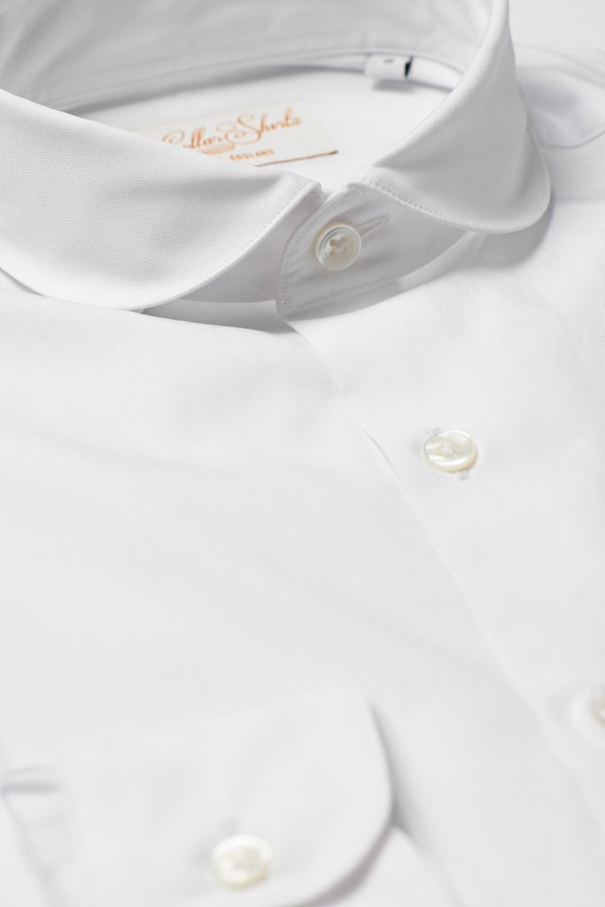 Mens White Shirt White Curve Cutaway Collar