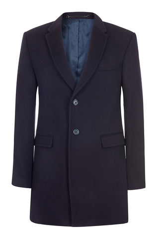 100% British Cashmere Navy Overcoat
