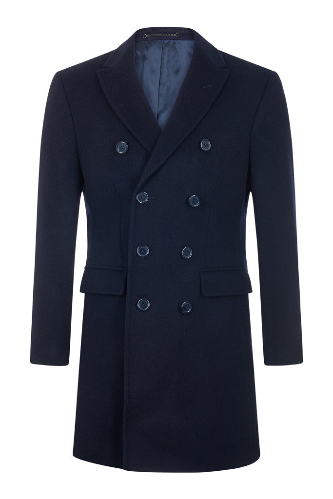 040e7eb27 Double Breasted Navy 100% British Cashmere Overcoat
