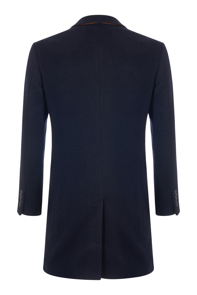 Double Breasted Navy Cashmere Blend Overcoat