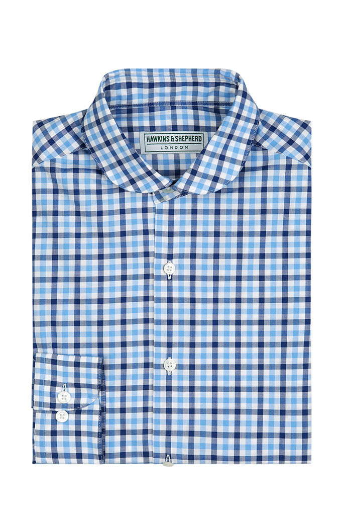 Hawkins & Shepherd Blue Navy Gingham Check Casual Shirt