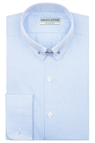Blue Herringbone Pin Collar Shirt