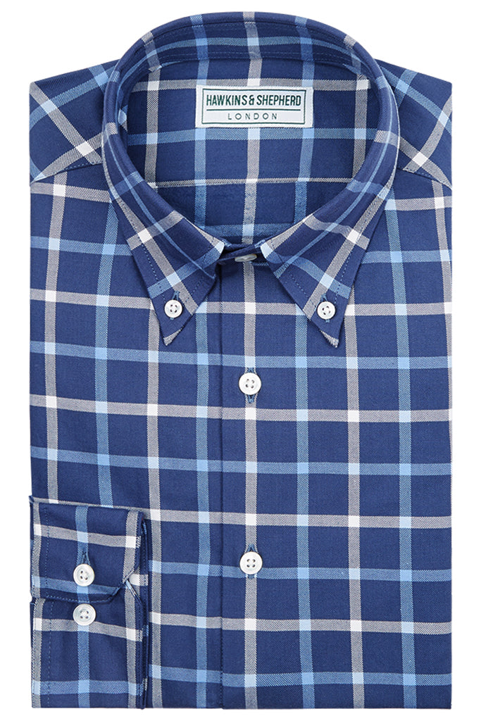 Hawkins & Shepherd Navy Check Button-Down Shirt