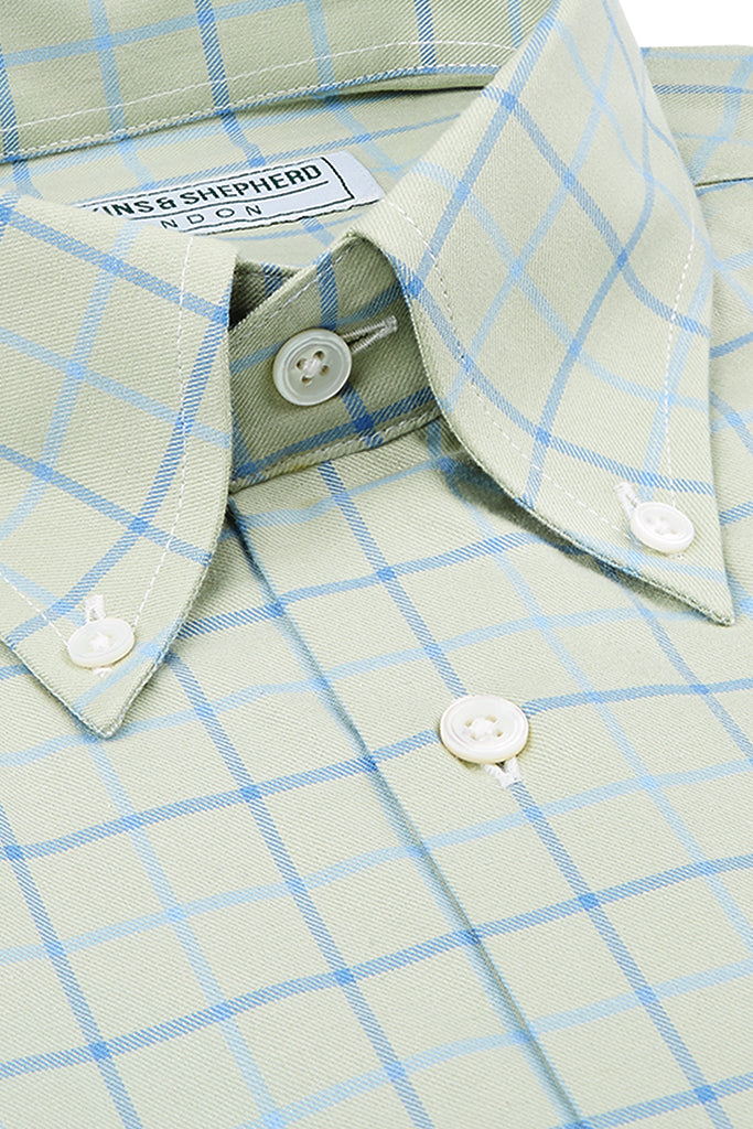 Olive Green Check Button-Down Shirt