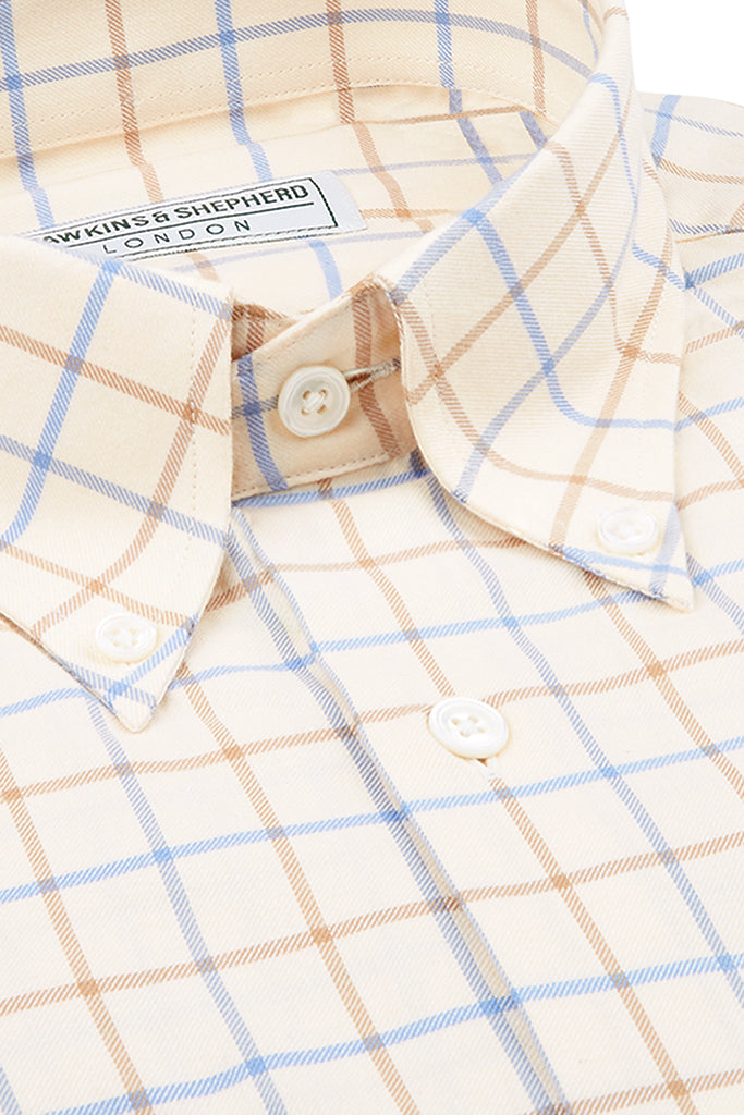 Tan Brown Blue Check Button-Down Shirt