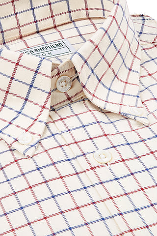 Cream Wine Navy Check Button-Down Shirt