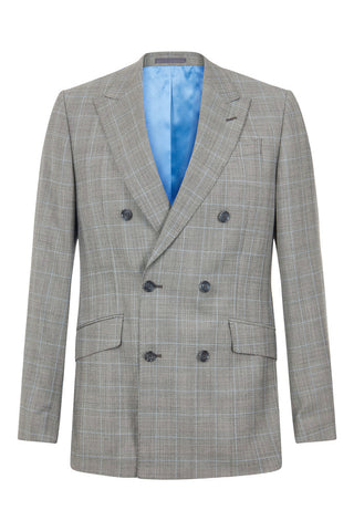 100% British Wool Grey Windowpane Suit