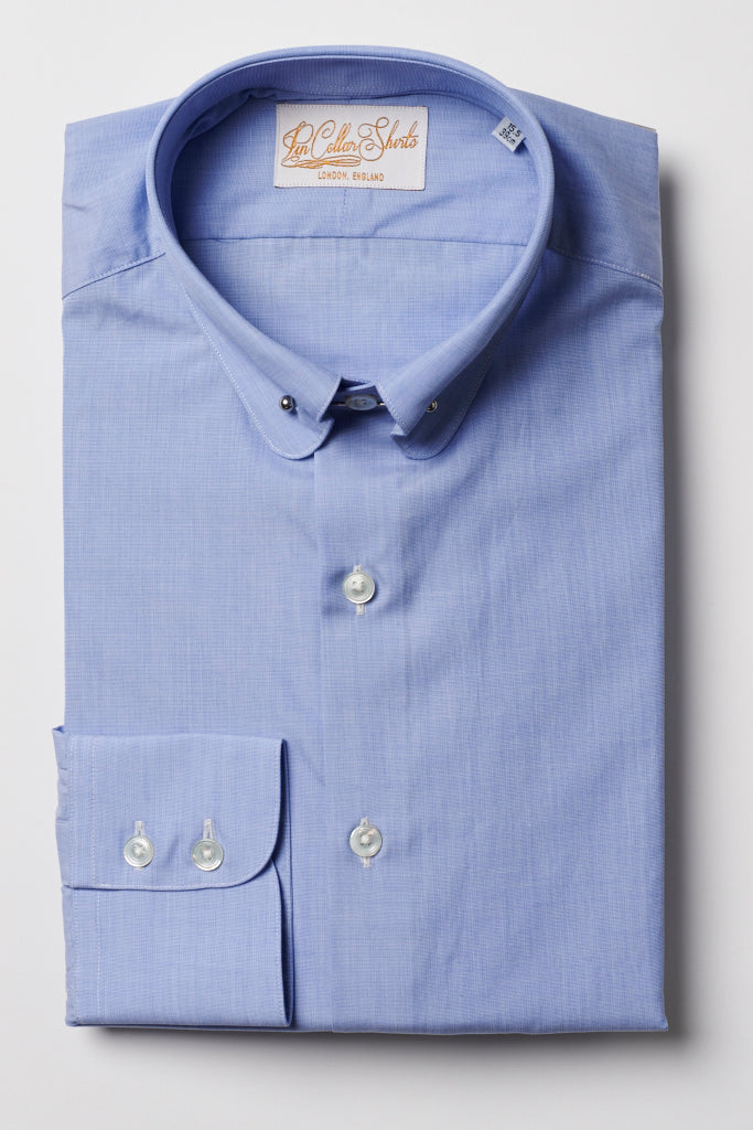 Mens Blue Pin Collar Shirt Penny Collar
