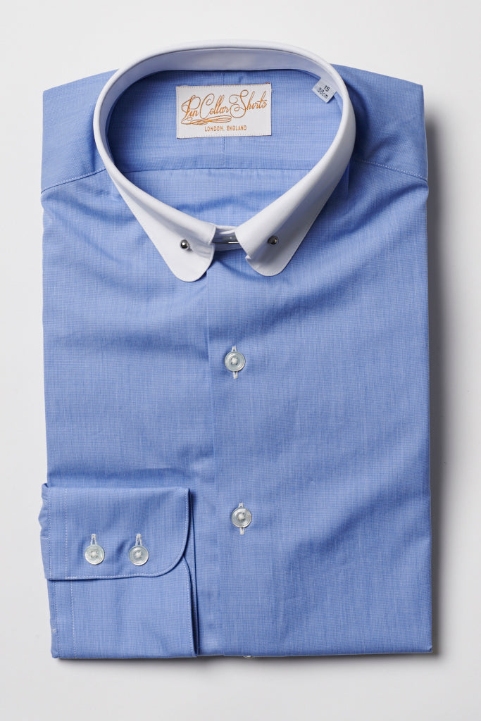 Mens Blue Pin Collar Shirt Penny White Collar