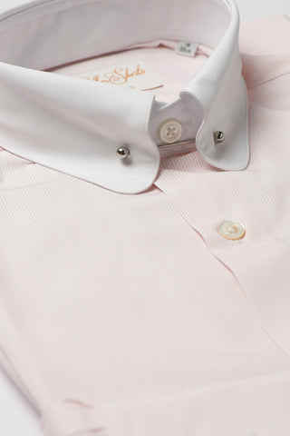 Mens Pink Striped Pin Collar Shirt Penny Collar