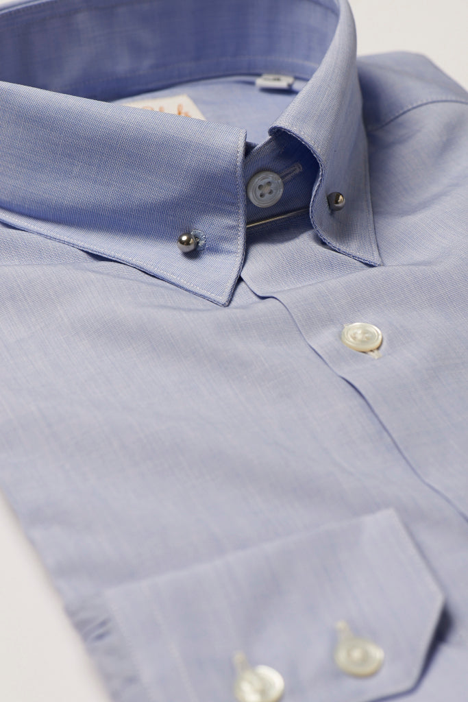Mens Blue Pin Collar Shirt Straight Collar