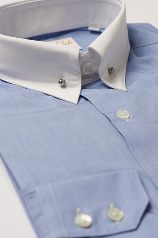 Mens Blue Pin Collar Shirt Straight White Collar