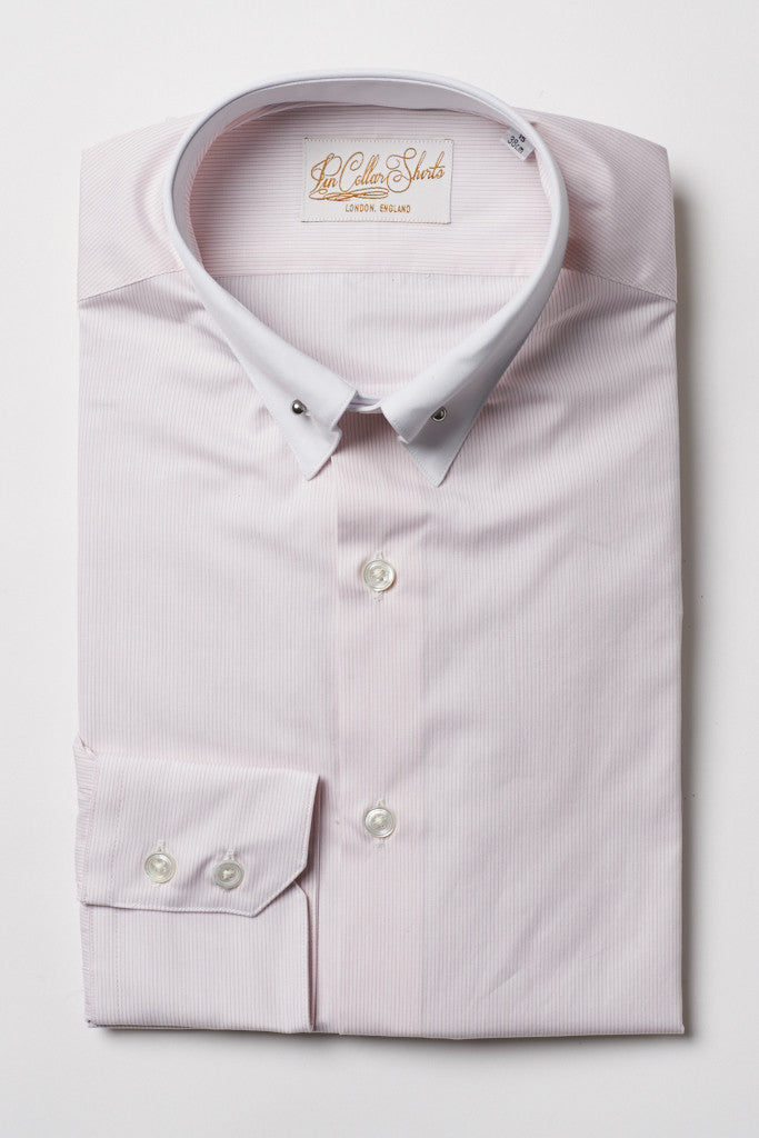 Mens Pink Pin Collar Shirt