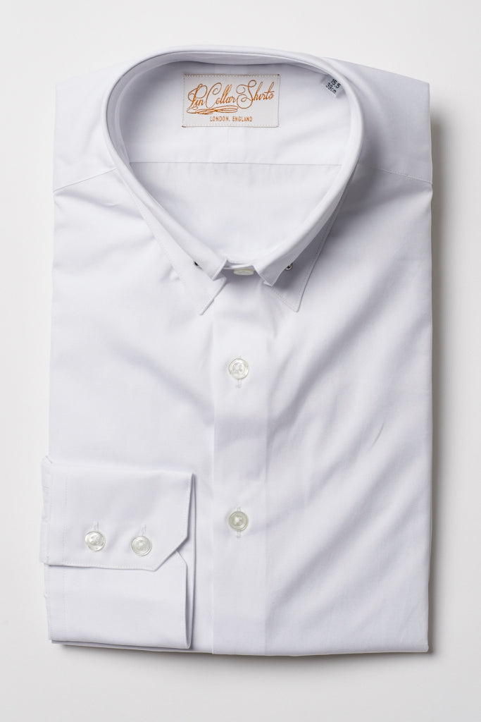 Mens White Pin Collar Shirt Straight Collar