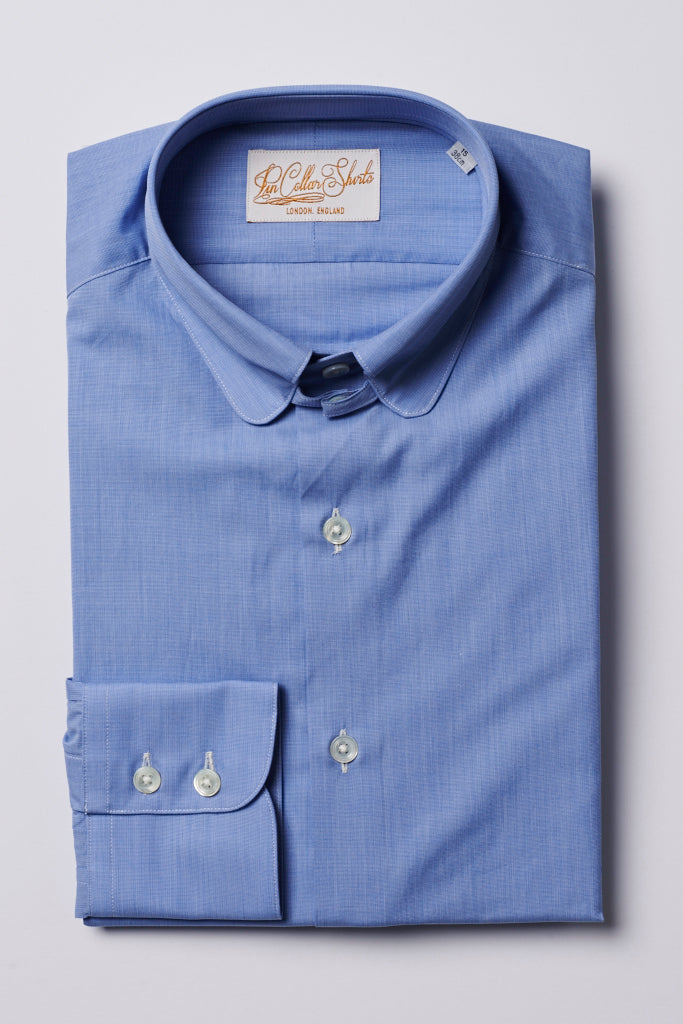 Mens Blue Tab Collar Shirt Penny Collar