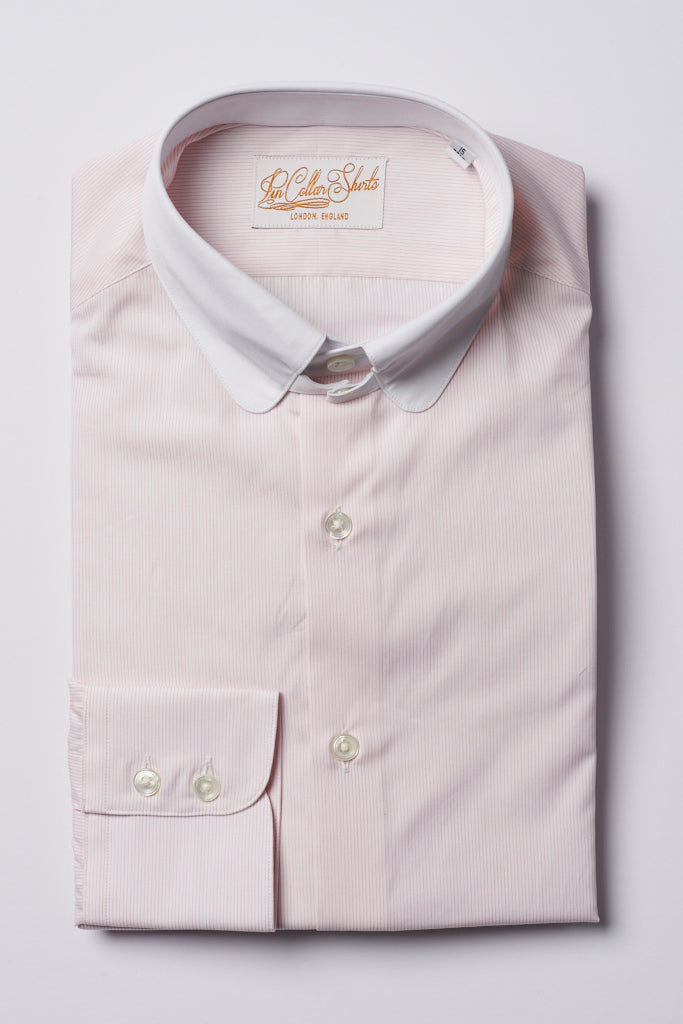 Mens Pink Striped Tab Collar Shirt White Penny Collar