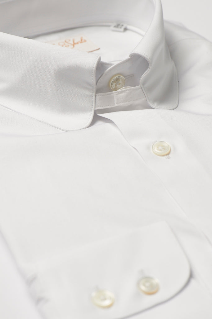 Mens White Tab Collar Shirt Penny Collar